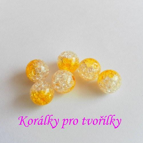 Práskané korálky čirotm.žluté 6ks/8,- Kč