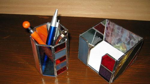 Kancelářský set - tužkovník a box na papírky