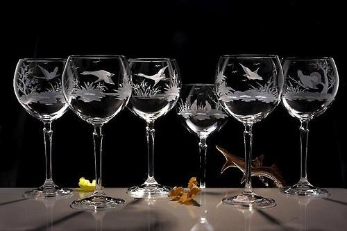 6x Ručně ryté sklenice na červené víno 450 ml-mysl