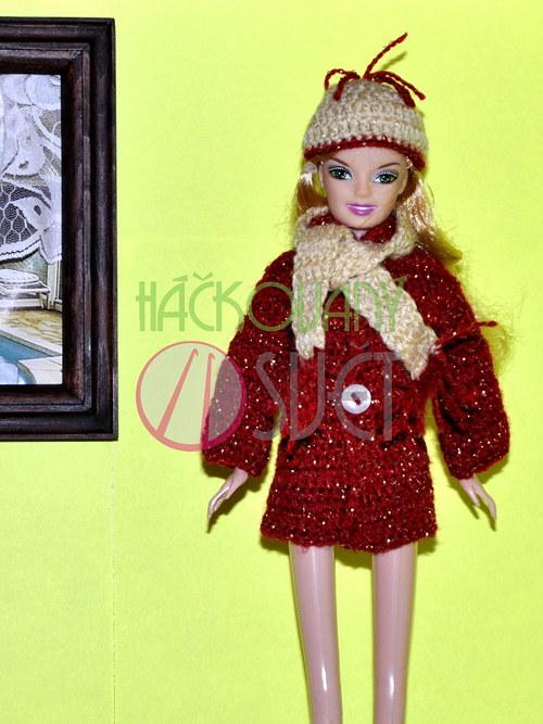 SLEVA:Zimní komplet pro Barbie - červený