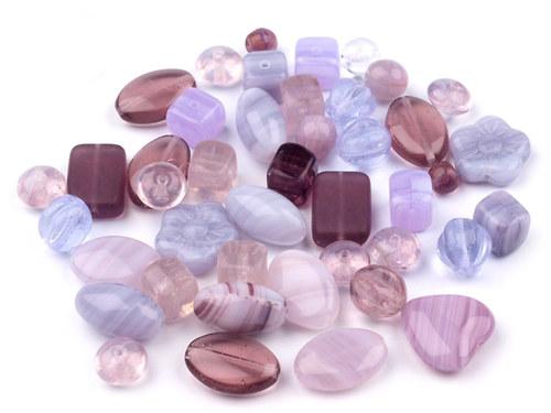 Korálky skleněné MIX fialový - 50g