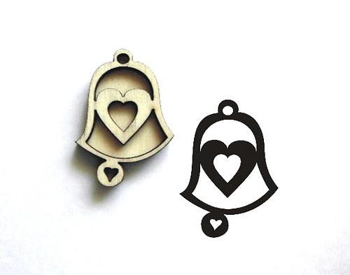 Razítko překližka zvonek srdce pr.-v.5x3,5cm