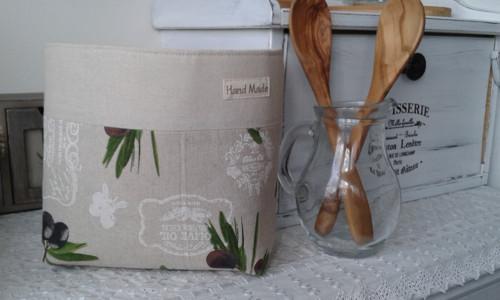Látkový košík - olivový
