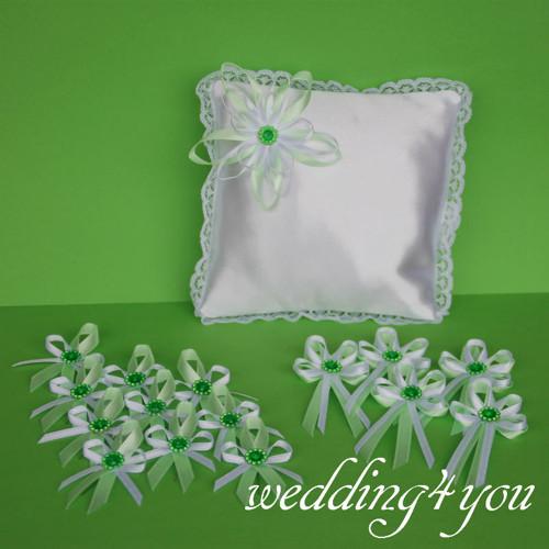 Svatební ZELENKAVÁ LUXUSNÍ = polštářek+vývazky