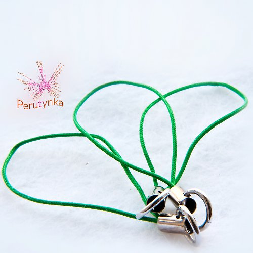 Poutka na mobil - zelená, s kroužky  - 3 ks