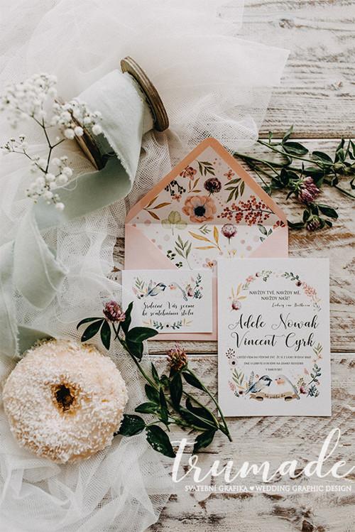 Svatební oznámení - Meadow birds