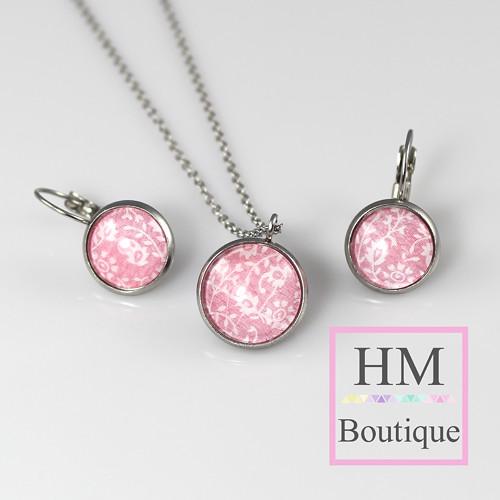 ocelový set - náušnice a náhrdelník růžové květiny