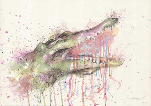 Different crocodile - malba akvarelem