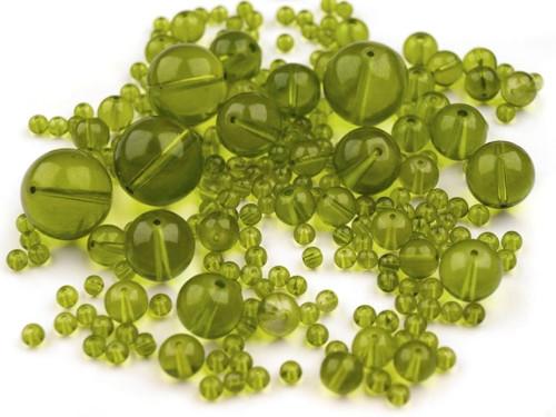Korálky sklo mix 4-18mm - zelené (95gr)