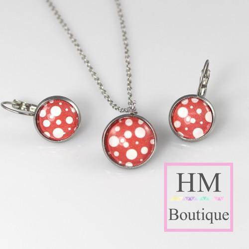 ocelový set - náušnice a náhrdelník bílé bublinky