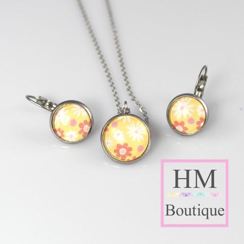 ocelový set -náušnice a náhrdelník květiny