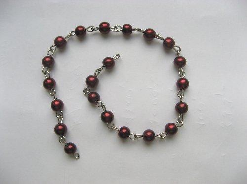 ketlovaný řetízek s vínovými voskovanými perlami