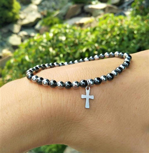Hematit*stříbrný*křížek