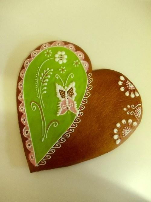 obří srdce z lásky-zelené s motýlkem