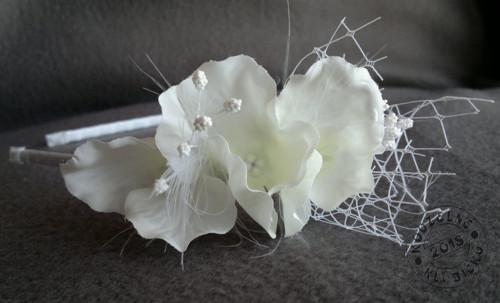 Svatební čelenka s kvítky hortenzie