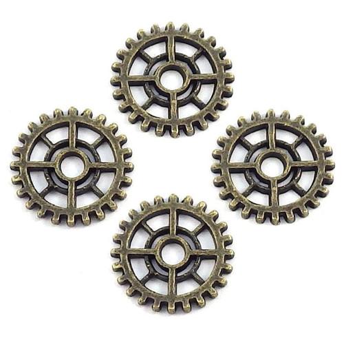Bronzový přívěsek - ozubené kolečko střední, 4 ks