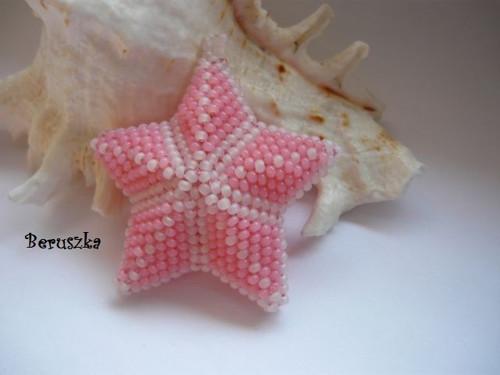 Vánoční hvězda 3D - bílo-růžová