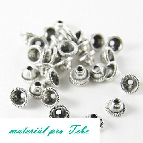 20 ks stříbrných kaplíků - 8 mm