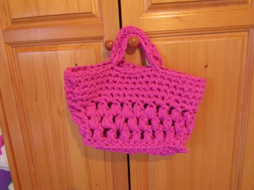 Růžová taška ze špagátů + mýdlíčko zdarma
