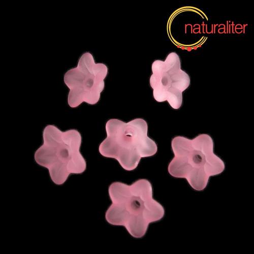 Květina akrylová 9mm růžová, 10ks