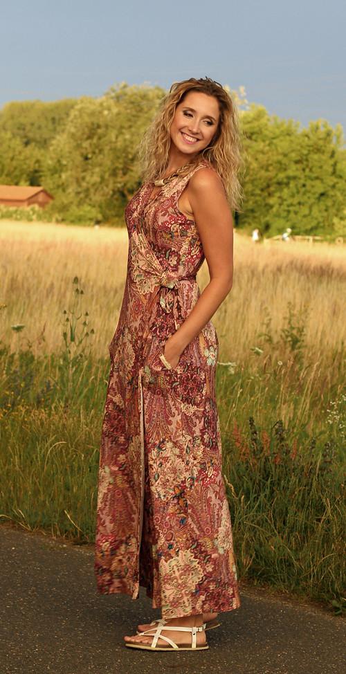 Zvonové zavinovací šaty dlouhé