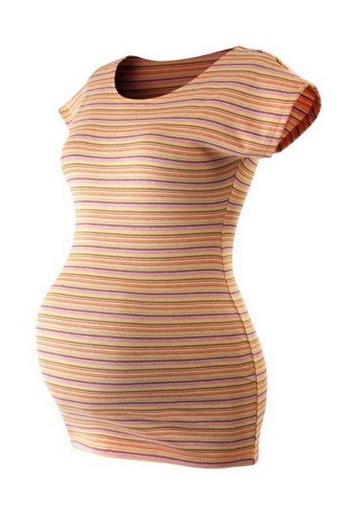 Pruhované těhotenské triko slabě oranžové