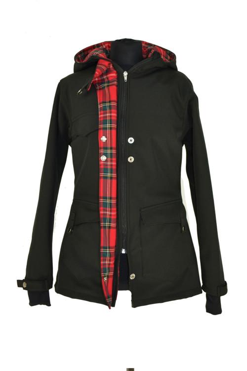 Softshellový zimní kabát černý s červenou kostkou