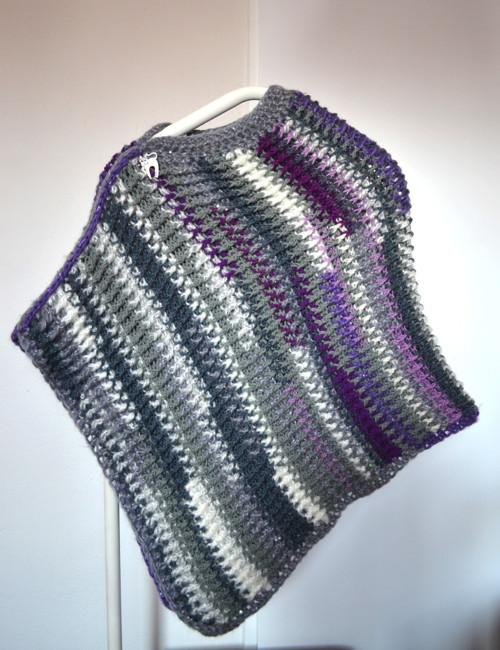 Pončo šedo-fialové