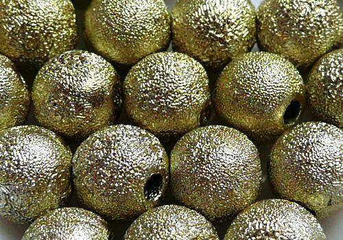 Plastová zvrásněná kulička 6 mm - zlatá / 8 ks