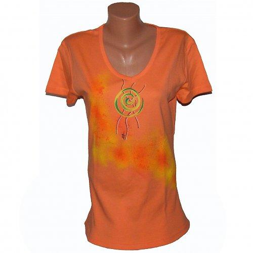 Triko malované - meruňkové