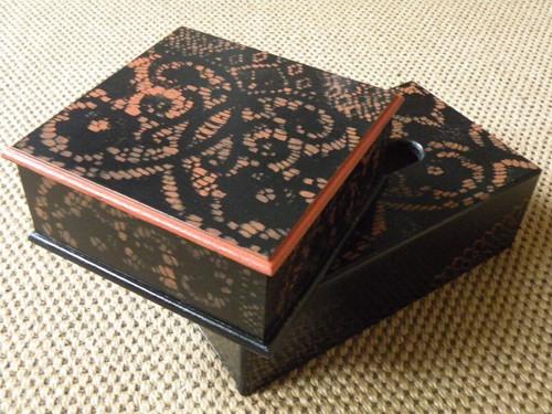 Originální romantická krabička černá+teracota