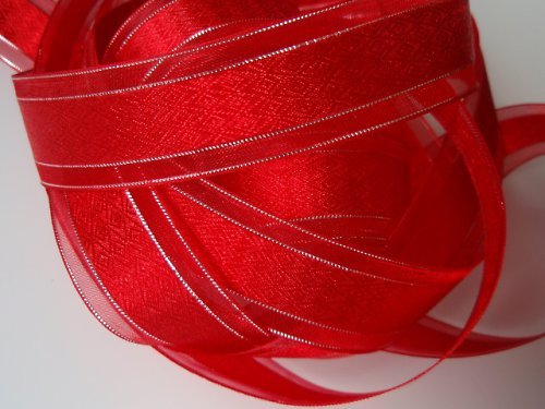 19259 Stuha organza dekorační červená/stříbro 22mm