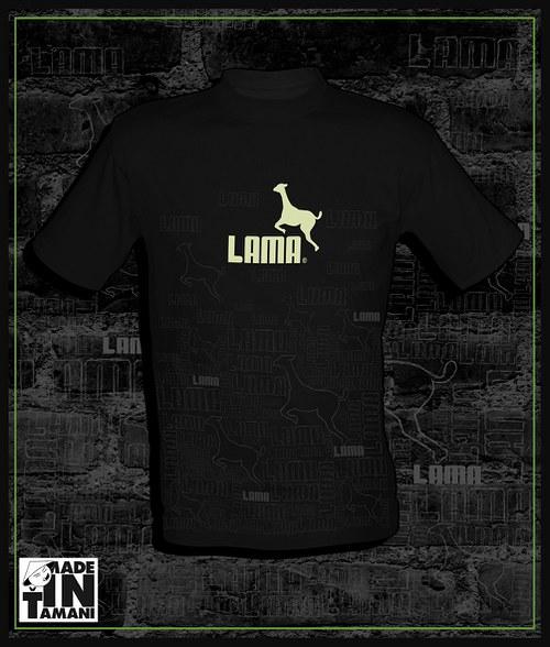 Pánské černé tričko Lama design 11