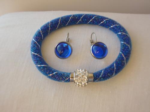 Náramek a náušnice modré