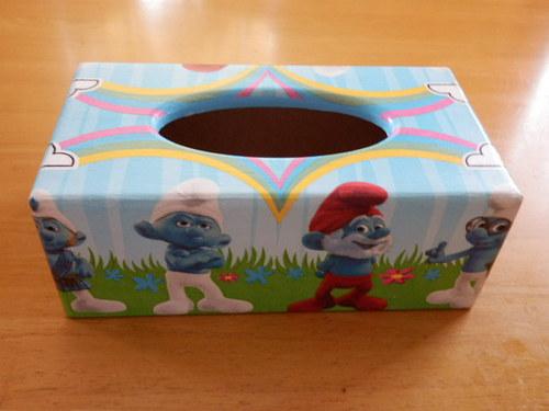 Krabička na kapesníky Šmoulové