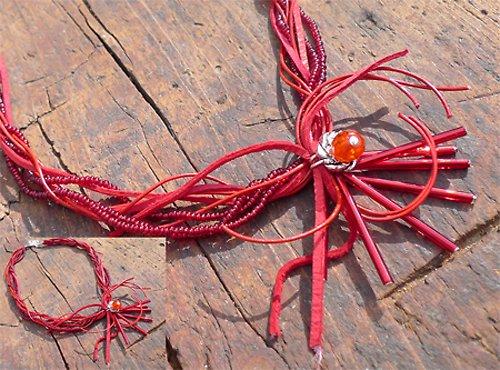 Červený náhrdelník N0015R
