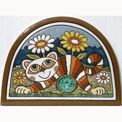 Keramický obrázek - Kočka s klubkem K-146-N
