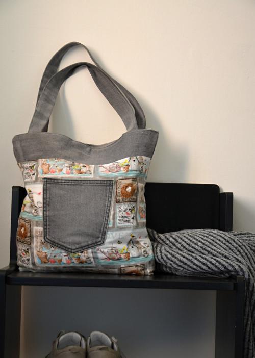 Oboustranná recy riflová šedá kabelka