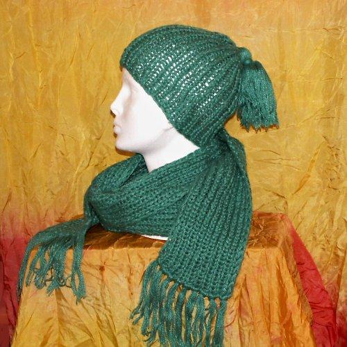 pletená souprava - čepice a šála - zelená