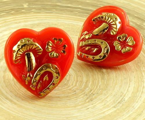1ks Neprůhledné Červené Zlato Opál Štěstí, Srdce F