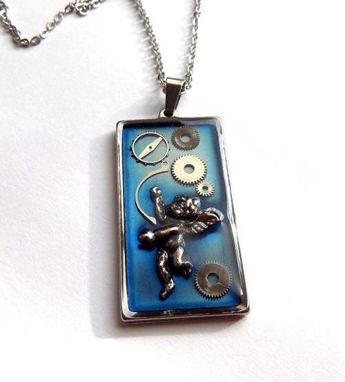 Steampunk náhrdelník z  oceli  II