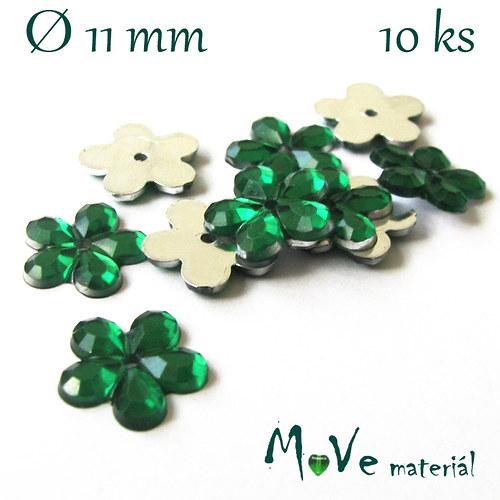 Květina plast Ø11mm našívací  10 ks trávově zelená