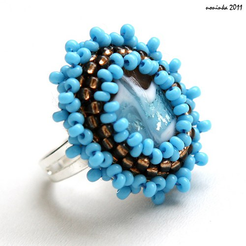 Čoko-tyrkys prstýnek