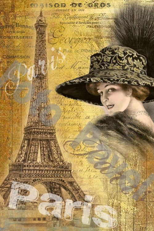 Vintage motiv -  dívka v Paříži 7