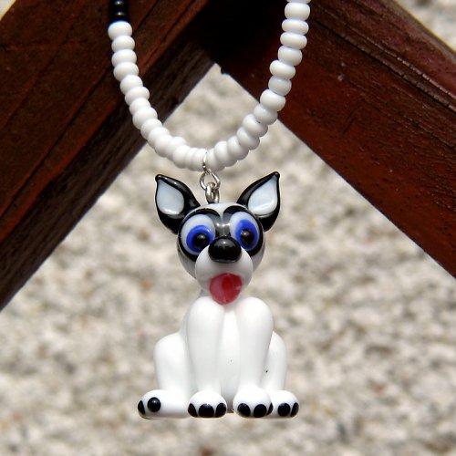 Náhrdelník pes HUSKY - vinutá perle