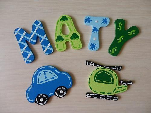 Dřevěné písmenka + dekorace Auto a Vrtulník