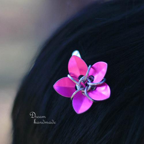 Růžový kvíteček - sponka