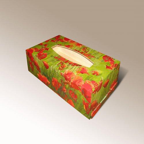 Krabička na kapesníky s vlčími máky