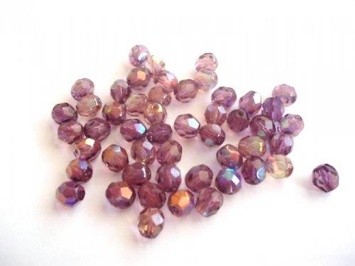 Broušené perle fialové s dekorem