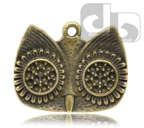 Bronzový přívěšek - hlava sovy 23 x 19mm 1ks